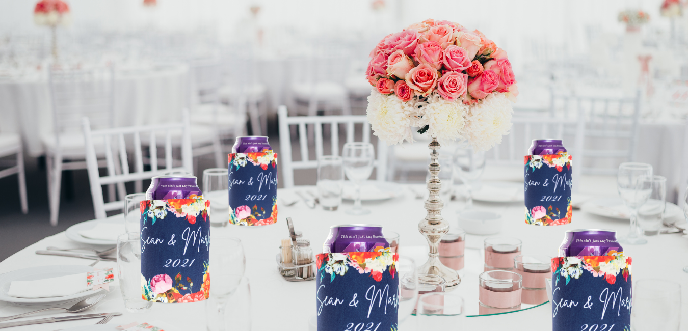 stubby holders at a wedding reception